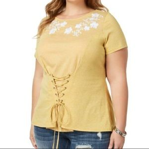 NWT Plus Size Embroidered Shirt with Corset Detail